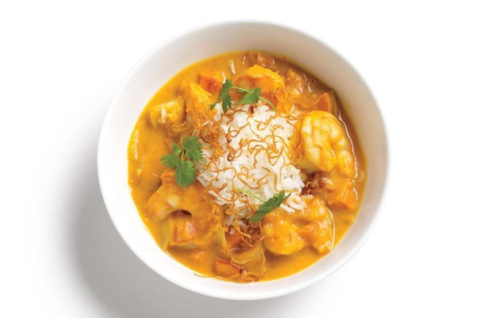 """Canned pumpkin is the base of this seafood curry. The cool move here is that the purée is cooked in the pan to concentrate its flavor before thinning out with <a href=""""https://www.epicurious.com/ingredients/best-coconut-milk-canned-taste-test-article?mbid=synd_yahoo_rss"""" rel=""""nofollow noopener"""" target=""""_blank"""" data-ylk=""""slk:coconut milk"""" class=""""link rapid-noclick-resp"""">coconut milk</a> and <a href=""""https://www.epicurious.com/ingredients/best-vegetable-broth-you-can-buy-at-the-grocery-store-or-online-article?mbid=synd_yahoo_rss"""" rel=""""nofollow noopener"""" target=""""_blank"""" data-ylk=""""slk:broth"""" class=""""link rapid-noclick-resp"""">broth</a>. <a href=""""https://www.epicurious.com/recipes/food/views/pumpkin-shrimp-curry-368281?mbid=synd_yahoo_rss"""" rel=""""nofollow noopener"""" target=""""_blank"""" data-ylk=""""slk:See recipe."""" class=""""link rapid-noclick-resp"""">See recipe.</a>"""