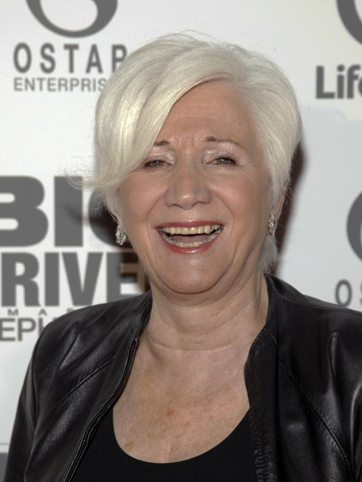 """FILE - In this Oct. 15, 2014 file photo, Olympia Dukakis attends a screening of Lifetime's """"Big Driver"""" in New York. Olympia Dukakis, the veteran stage and screen actress whose flair for maternal roles helped her win an Oscar as Cher's mother in the romantic comedy """"Moonstruck,"""" has died. She was 89. (Photo by Andy Kropa/Invision/AP, File)"""