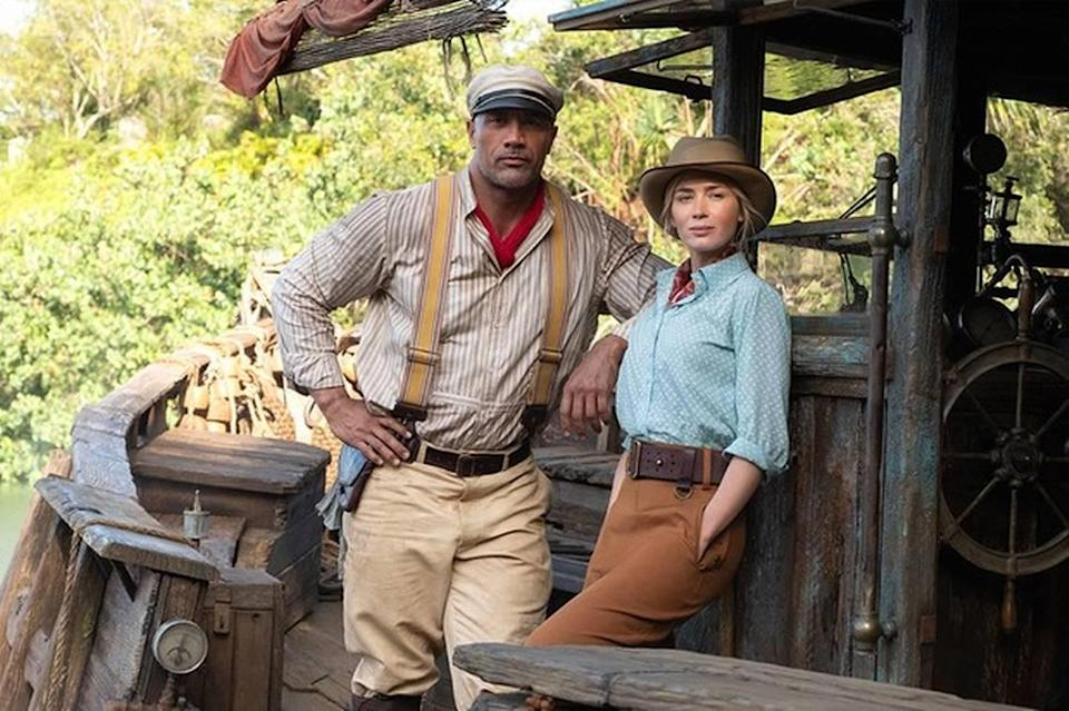 """Dwane Johnson and Emily Blunt in """"Jungle Cruise,"""" streaming on Disney+."""