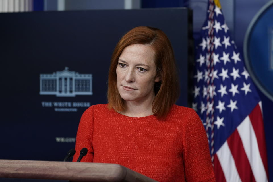 White House press secretary Jen Psaki speaks with reporters in the James Brady Press Briefing Room at the White House, Thursday, Feb. 5, 2021, in Washington. (AP Photo/Alex Brandon)