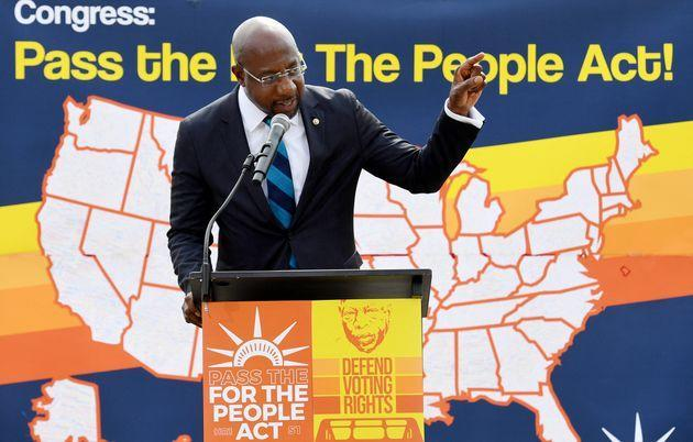 Senator Reverend Raphael Warnock (D-Ga.) speaks at a rally in front of the U.S. Supreme Court to call on the Senate to pass the For the People Act, on June 9 in Washington, D.C. (Photo: OLIVIER DOULIERY via Getty Images)