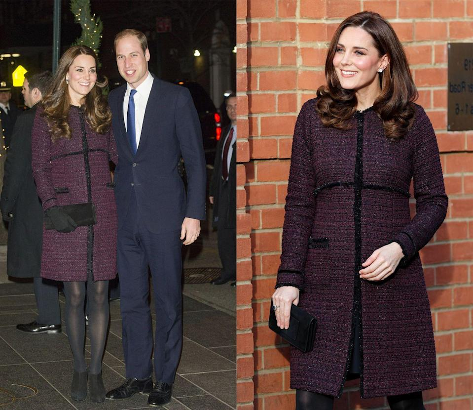 <p>Mom-to-be Kate wore this burgundy boucle coat from maternity brand Séraphine while pregnant with Princess Charlotte in December 2014 and again in December 2017 while she was expecting Prince Louis. </p>