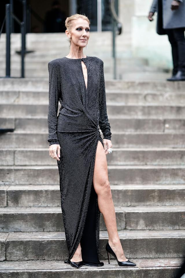 <p>Not one to shy away from headline-worthy garms, Celine Dion chose a thigh-high split Alexandre Vauthier dress for the designer's couture show. <em>[Photo: Getty]</em> </p>