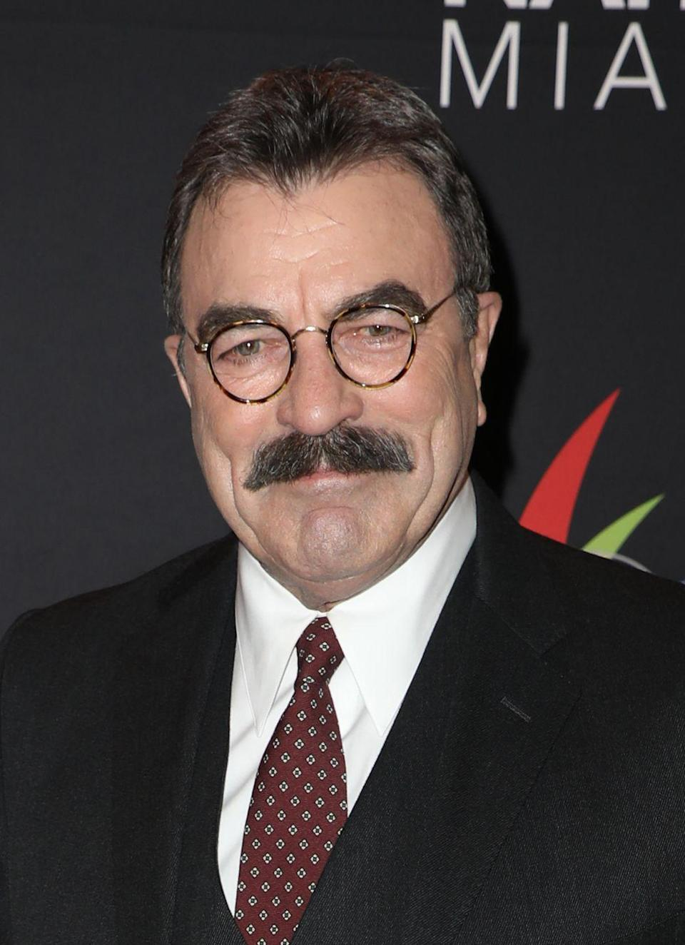 <p>The actor's signature mustache remains on display at all times.</p>