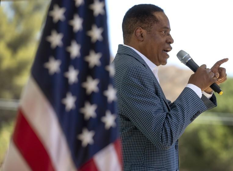 CASTAIC, CA - SEPTEMBER 06, 2021: Gubernatorial candidate Larry Elder addresses the crowd during a rally at Freedom's Way Baptist Church in Castaic. (Mel Melcon / Los Angeles Times)