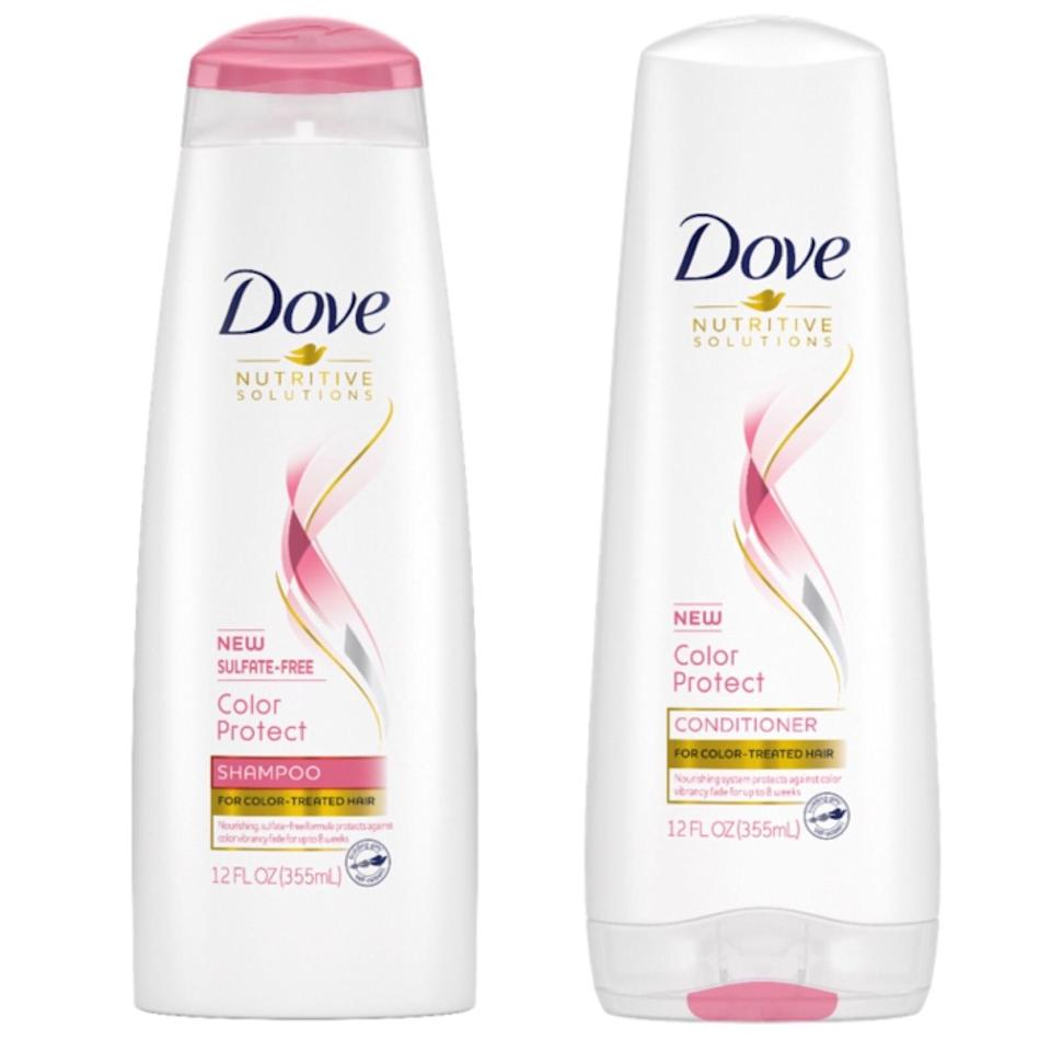 """<p>Dove has more than 20 shampoos and conditioners aimed at different hair types and needs, so it's hard to believe that the new Color Protect Shampoo and Color Protect Conditioner are the brand's very first <a href=""""https://www.allure.com/story/best-sulfate-free-shampoos?mbid=synd_yahoo_rss"""">sulfate-free system</a>. It may seem long overdue, but Dove was simply perfecting formulas that would ensure color vibrancy for up to eight weeks.</p> <p><strong>$4 each</strong> (Available in October)</p>"""