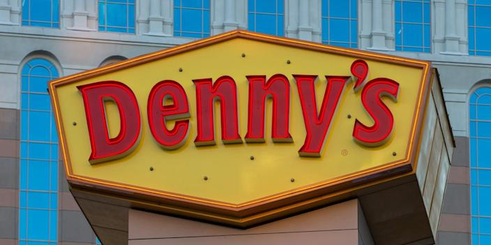 dennys LAS VEGAS, NV - MARCH 2: The exterior of a Denny's restaurant, located along the Las Vegas Strip, is viewed on March 2, 2018 in Las Vegas, Nevada. Millions of visitors from all all over the world flock to this desert city each year for the shows, the food, the gambling, and the sun. (Photo by George Rose/Getty Images)