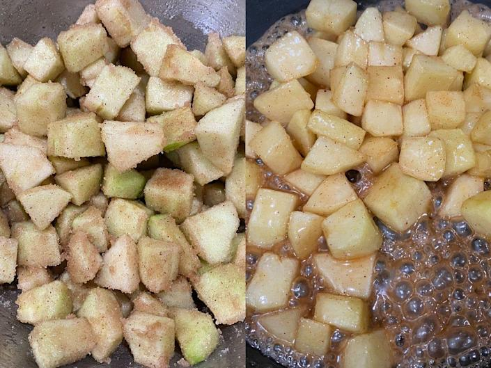Caramelized apples sizzling in a pan.