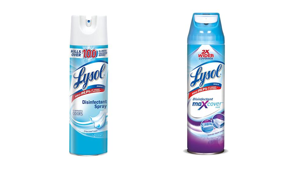 Two Lysol disinfectant sprays are effective against SARS-CoV-2, the virus that causes COVID-19, according to  July 6, 2020 announcement from the Environmental Protection Agency. (Photo: Lysol)