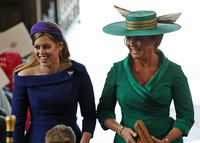 Princess Beatrice and Sarah Ferguson enter the chapel.