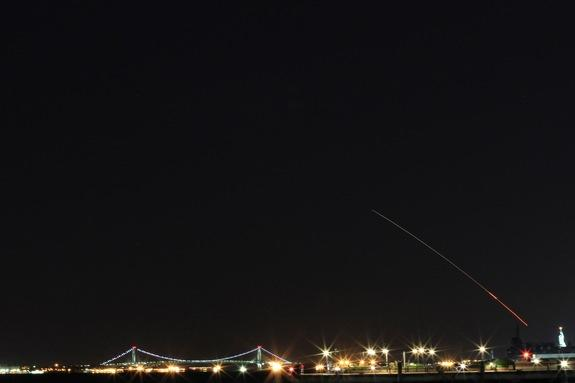 Quentin Le Fevre was in Jersey City, N.J. when he captured this view of NASA's LADEE moon mission launch on Sept. 6, 2013.
