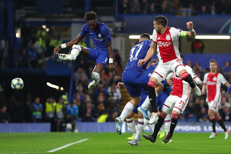 LONDON, ENGLAND - NOVEMBER 05: Tammy Abraham of Chelsea scores an own goal for Ajax's first goal during the UEFA Champions League group H match between Chelsea FC and AFC Ajax at Stamford Bridge on November 05, 2019 in London, United Kingdom. (Photo by Catherine Ivill/Getty Images)