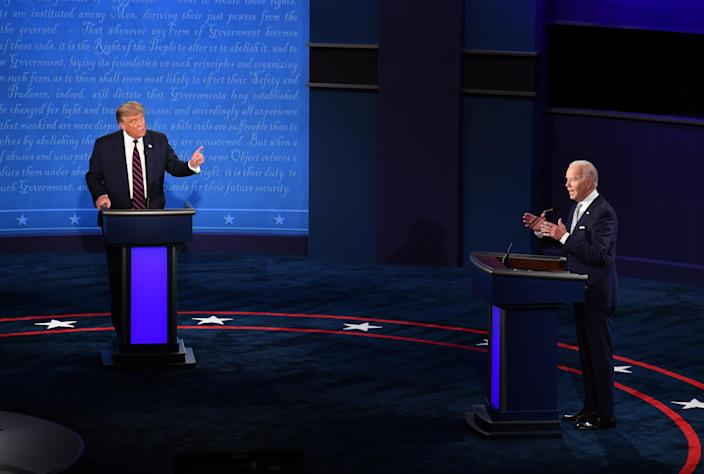 President Donald Trump, left, attacked Democratic challenger Joe Biden over his son Hunter's struggle with addiction, and Biden's response won rave reviews. (Kevin Dietsch/UPI/Bloomberg via Getty Images)