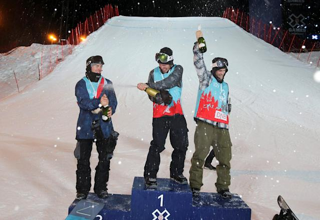 REFILE - CORRECTING NAME Snowboarding - X Games Men's Snowboard Slopestyle finals, Hafjell, Norway - 10/3/17 - Gold medalist Sven Thorgren of Sweden, Silver medalist Stale Sandbech of Norway right and bronze medalist Sebastien Toutant of Canada celebrate on the podium. NTB Scanpix/Geir Olsen/via REUTERS ATTENTION EDITORS - THIS IMAGE WAS PROVIDED BY A THIRD PARTY. FOR EDITORIAL USE ONLY. NORWAY OUT. NO COMMERCIAL OR EDITORIAL SALES IN NORWAY. NO COMMERCIAL SALES.