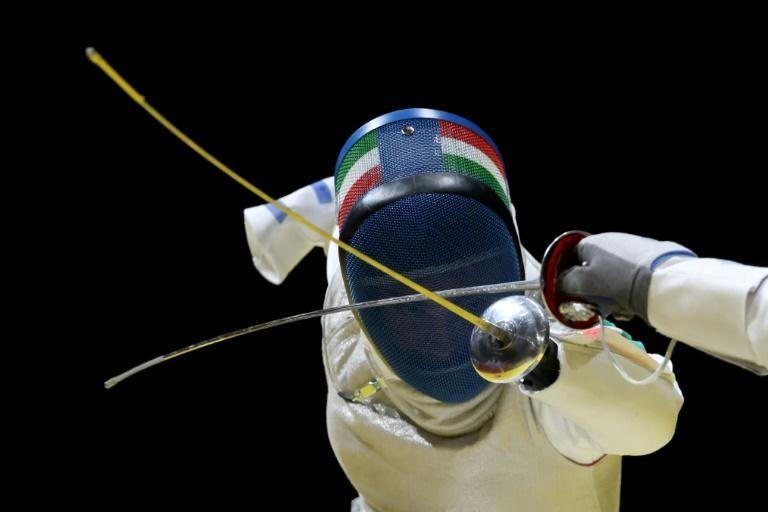 Italy's Beatrice Vio competes in the wheelchair fencing women's foil individual category B in Tokyo on Saturday (AFP/Behrouz MEHRI)