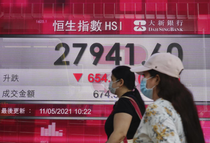 People walk past a bank's electronic board showing the Hong Kong share index at Hong Kong Stock Exchange Tuesday, May 11, 2021. Shares dropped Tuesday in Asia after selling of several Big Tech companies pulled U.S. benchmarks lower. (AP Photo/Vincent Yu)