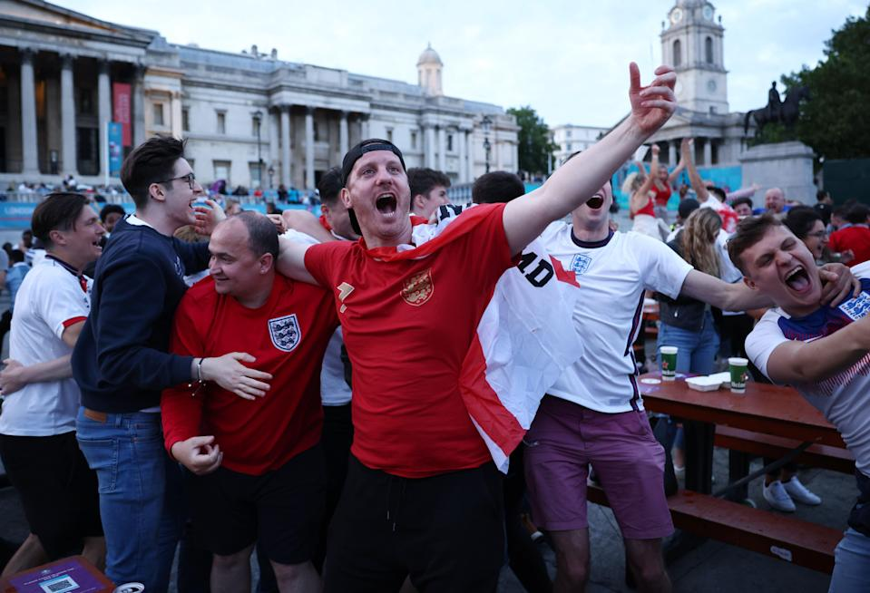 Fans in Leicester Square, London (REUTERS)