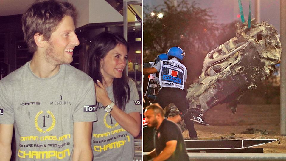 Pictured here, Romain Grosjean, his wife and the aftermath of his terrifying F1 crash.