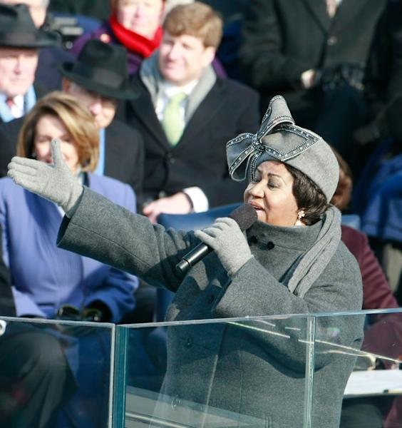 Aretha Franklin sings during the inauguration of Barack Obama as the 44th President of the United States