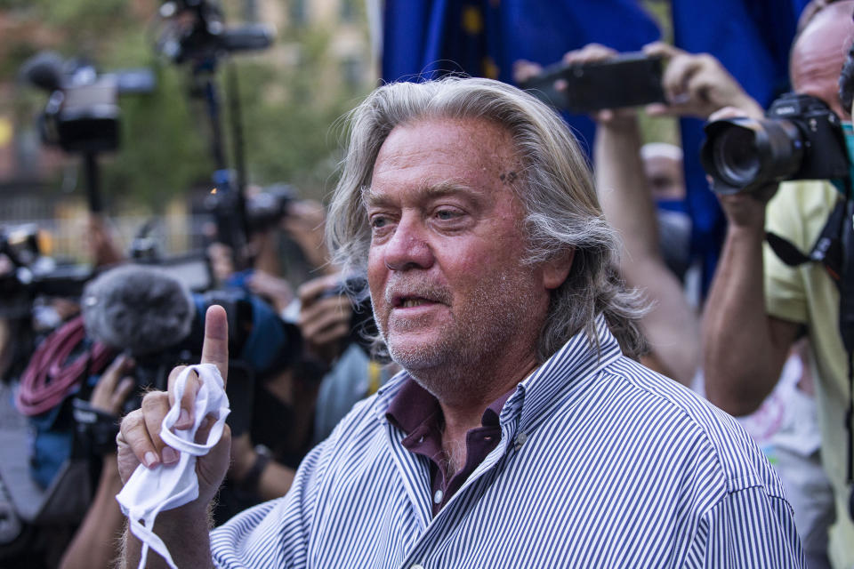 President Donald Trump's former chief strategist Steve Bannon speaks with reporters after pleading not guilty to charges that he ripped off donors to an online fundraising scheme to build a southern border wall, Thursday, Aug. 20, 2020, in New York. (AP Photo/Eduardo Munoz Alvarez)