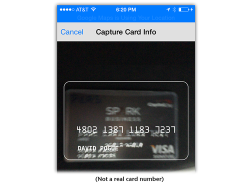 iPhone reading a credit card for Apple Pay