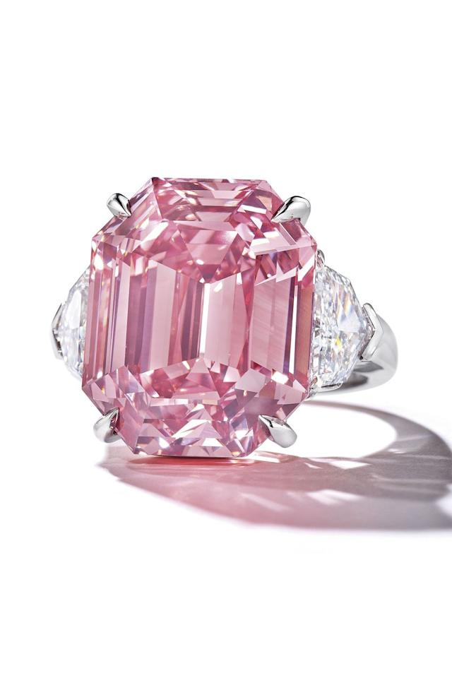 <p>Described by gem experts as a once-in-a-lifetime find, this rosy-hued 18.96 carat diamond came up for sale at Christie's Geneva in November 2018. </p><p>It is classified as 'Fancy Vivid' in colour (a term only awarded to one in every 100,000 diamonds) and immediately became the subject of a ferocious bidding war, eventually selling for over 50.3 million Swiss Francs (about £41.3 million) to the jewellers Harry Winston - a new price-per-carat record for any pink diamond sold at auction. </p>