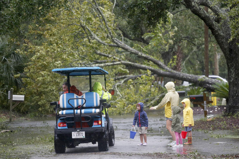 Isle of Palms residents look at a downed tree on Hartnett Blvd. during Hurricane Dorian at the Isle of Palms, S.C., Thursday, Sept. 5, 2019, in Charleston, S.C. (AP Photo/Mic Smith)