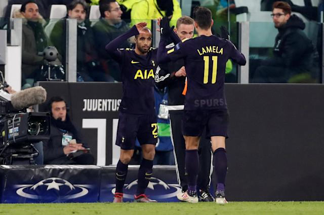 Soccer Football - Champions League - Juventus vs Tottenham Hotspur - Allianz Stadium, Turin, Italy - February 13, 2018 Tottenham's Lucas Mouracomes on as a substitute to replace Erik Lamela Action Images via Reuters/Paul Childs