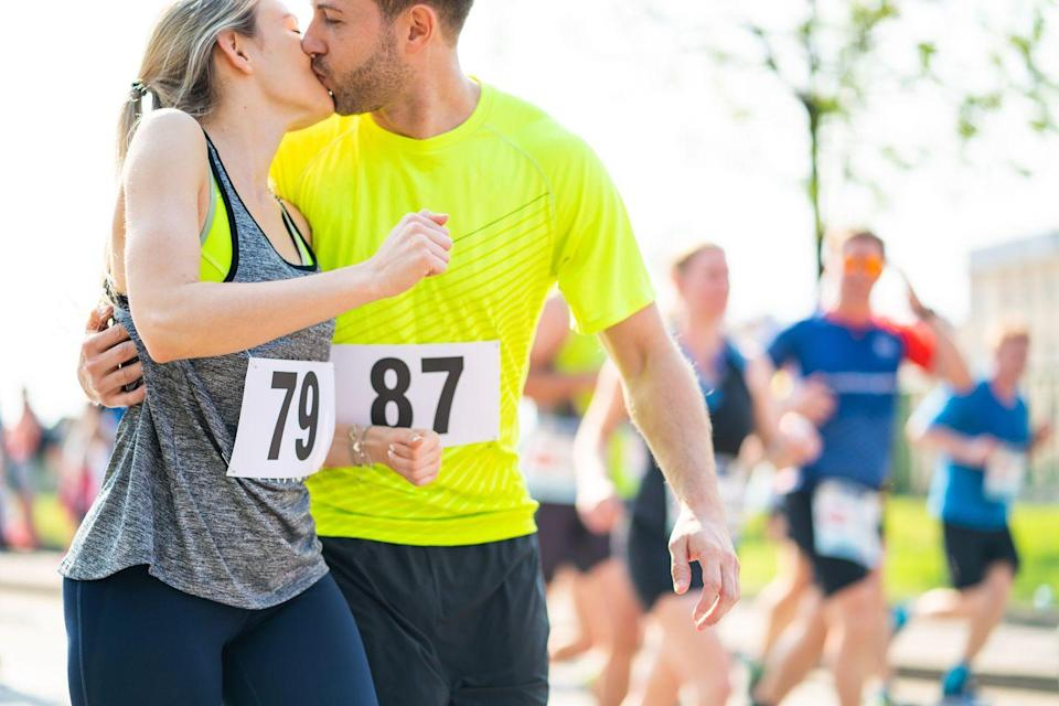 """<p>Even if you would only ever really run if you're being chased, think about signing up as a couple for a run/walk or fun run event. More about having a good time than killing it on a challenging course, it'll still give you both <a href=""""https://www.cnn.com/2016/01/13/health/endorphins-exercise-cause-happiness/index.html"""" rel=""""nofollow noopener"""" target=""""_blank"""" data-ylk=""""slk:bliss-inducing endorphin"""" class=""""link rapid-noclick-resp"""">bliss-inducing endorphin</a> boosts.</p><p><a class=""""link rapid-noclick-resp"""" href=""""https://www.amazon.com/s?k=women%27s+running+shorts&tag=syn-yahoo-20&ascsubtag=%5Bartid%7C10050.g.35949770%5Bsrc%7Cyahoo-us"""" rel=""""nofollow noopener"""" target=""""_blank"""" data-ylk=""""slk:SHOP RUNNING SHORTS"""">SHOP RUNNING SHORTS</a></p>"""