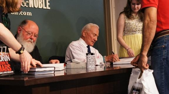 """Buzz Aldrin, the second man to walk on the lunar surface, signed copies of his new book, """"Mission to Mars,"""" in New York on May 7."""