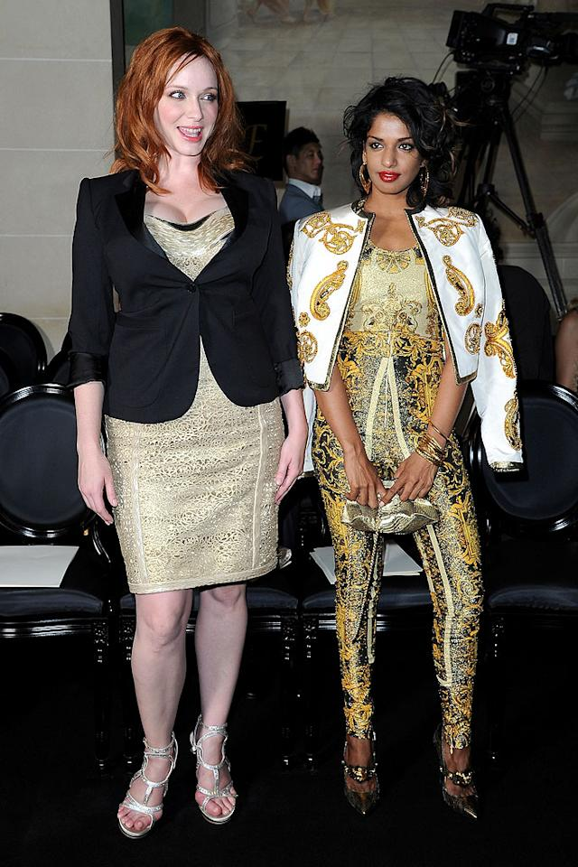 """Mad Men"" actress Christina Hendricks and singer M.I.A. attended the same show as Jessica (didn't you spot M.I.A. sitting next to Ms. Alba?) and both donned Versace creations. Which look did you like best? (7/1/2012)"