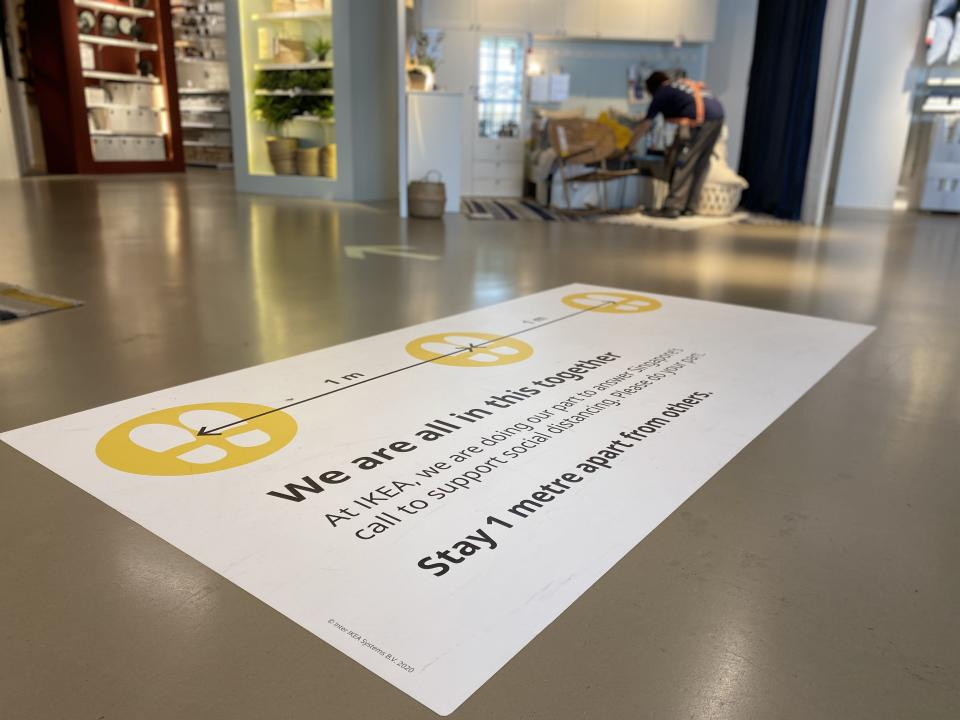 A social distancing sign on the floor at IKEA Singapore's Tampines store ahead of relaxing of lockdown rules on 19 June, 2020.