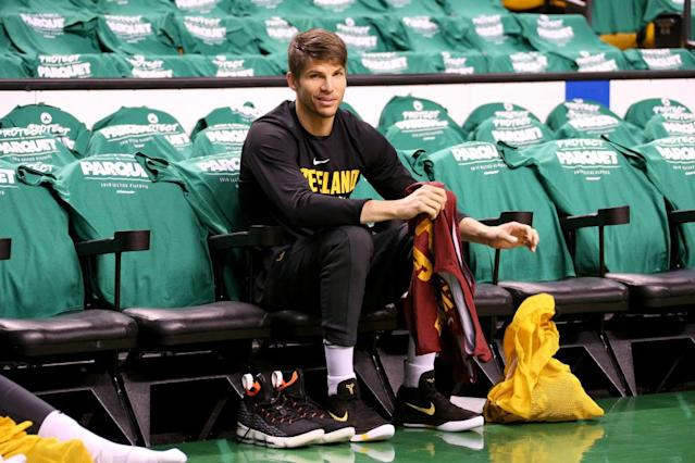 There is no truth to the rumor that Kyle Korver is still stuck on a bench inside TD Garden. (Getty Images)