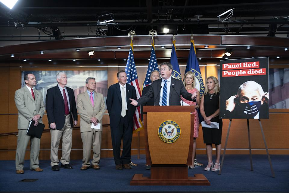 Representative Thomas Massie, a Republican from Kentucky, speaks during a news conference held to call for the firing of Anthony Fauci at the U.S. Capitol in Washington, D.C., U.S., on Tuesday, June 15, 2021. (Sarah Silbiger/Bloomberg via Getty Images)