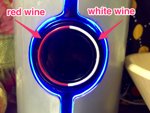 Red and white buttons on a Sonic Decanter
