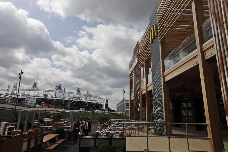 The Olympic Stadium is seen from the newly constructed McDonald's restaurant at the Olympic Park in east London, Monday, June 25, 2012. The restaurant is designed to be reusable and recyclable after the London 2012 Olympic and Paralympic Games. (AP Photo/Lefteris Pitarakis)