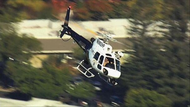 PHOTO: A California Highway Patrol helicopter circles close to the scene of a reported shooting near Ridgway High School in Santa Rosa, Calif., Oct. 22, 2019. (KGO)