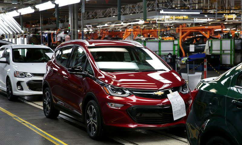 A red 2018 Chevrolet Bolt EV vehicle is seen on the assembly line at General Motors Orion Assembly in Lake Orion, Michigan,