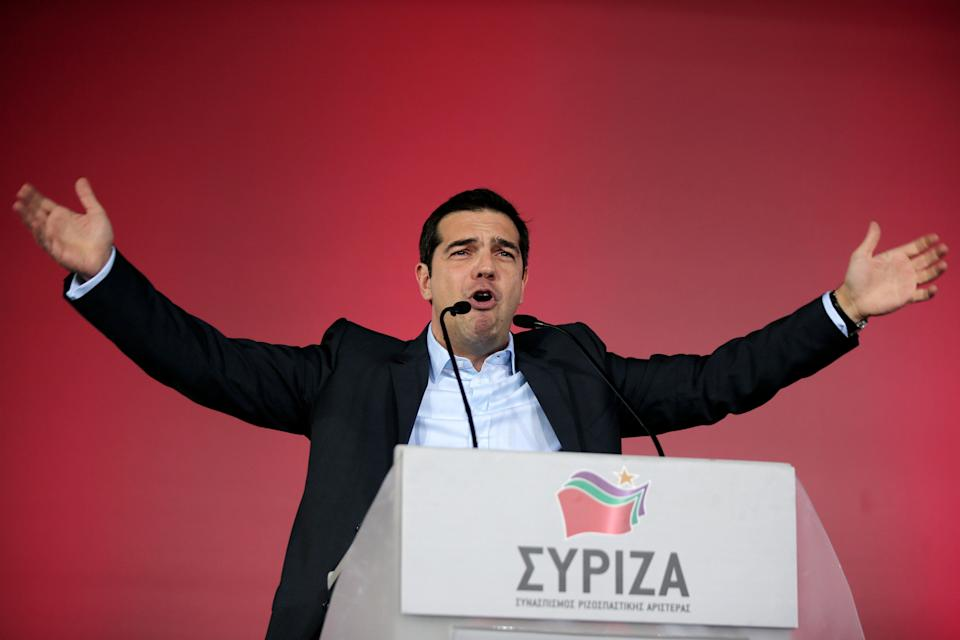 Alexis Tsipras, leader of Greece's Syriza left-wing main opposition party delivers a pre-election speech at Omonia Square in Athens on Thursday, Jan. 22, 2015.  (AP Photo/Lefteris Pitarakis)