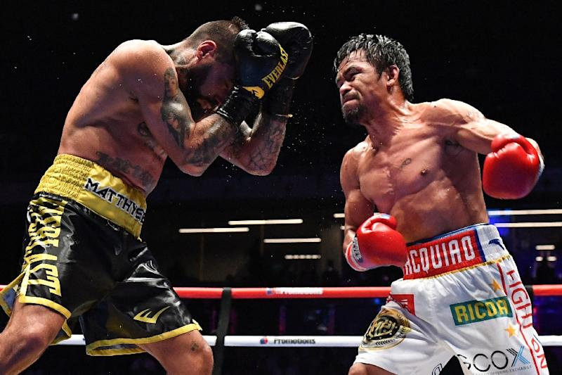 Manny Pacquiao called for a rematch against Floyd Mayweather after his win over Argentina's Lucas Matthysse