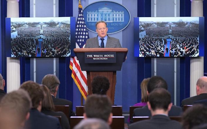White House Press Secretary Sean Spicer delivers a statement in the Brady Briefing Room of the White House on January 21, 2017 (AFP Photo/Mandel NGAN)