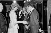 <p>At the premiere, Diana met one of the former James Bonds, British actor Roger Moore. <em>A View To A Kill </em>was Moore's last of seven Bond films. </p>