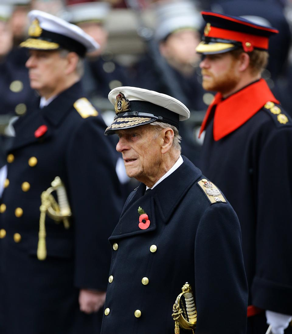 File photo dated 08/11/15 of the Duke of Edinburgh with The Duke of York (left) and Prince Harry (right) during the annual Remembrance Sunday service at the Cenotaph memorial in Whitehall, London. The Duke of Edinburgh has died, Buckingham Palace has announced. Issue date: Friday April 9, 2020.. See PA story DEATH Philip. Photo credit should read: Gareth Fuller/PA Wire