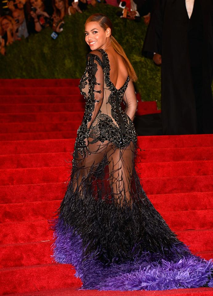 "Beyonce, who was Golden Globe nominated for ""Dreamgirls,"" wore a black lace Givenchy gown with a dramatically exposed back at the 2012 Met Gala in New York."
