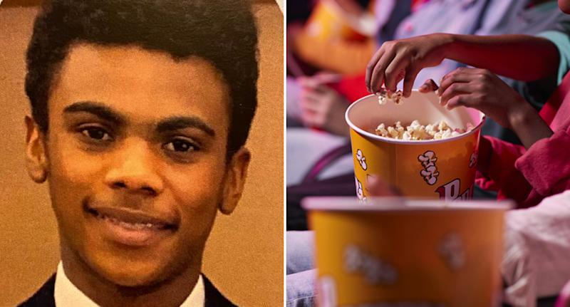 Ruben Bousqet, 14, is pictured with a bucket of popcorn.