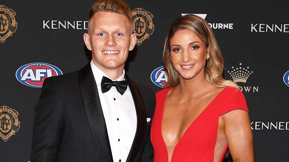 Adam Treloar and partner Kim Ravaillon are pictured at the 2019 Brownlow Medal.