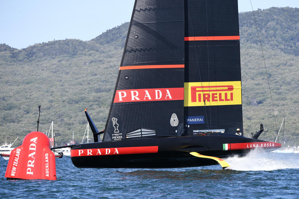 Italy's Luna Rossa sails against Team New Zealand during race 5 of the America's Cup on Auckland's Waitemata Harbour, New Zealand, Saturday, March 13, 2021. (Chris Cameron/Photosport via AP)