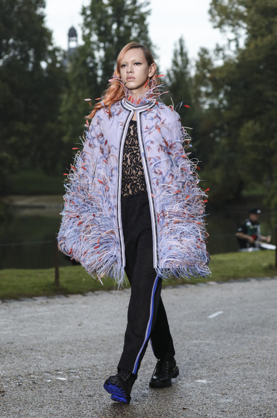 A model wears a creation for the Koche Spring-Summer 2021 fashion collection, Tuesday, Sept. 29, 2020, during Paris fashion week. (Photo by Vianney Le Caer/Invision/AP)