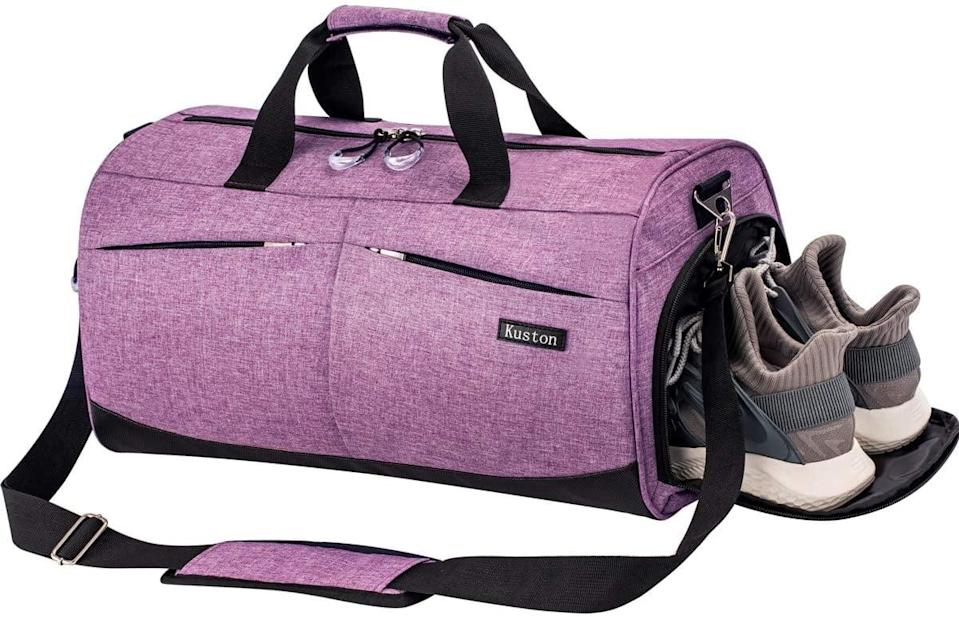 <p><span>Kuston Sports Gym Bag </span> ($27) has a shoes compartment and a wet pocket for soaking wet or damp clothing. </p>