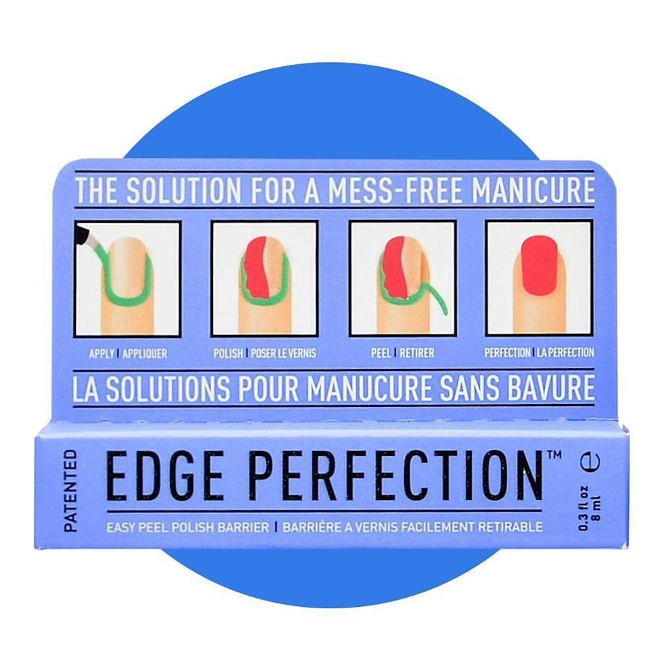 """<p><strong>Edge Perfection</strong></p><p>amazon.com</p><p><strong>$9.95</strong></p><p><a href=""""https://www.amazon.com/dp/B0753RH1MM?tag=syn-yahoo-20&ascsubtag=%5Bartid%7C2089.g.34449251%5Bsrc%7Cyahoo-us"""" rel=""""nofollow noopener"""" target=""""_blank"""" data-ylk=""""slk:Shop Now"""" class=""""link rapid-noclick-resp"""">Shop Now</a></p><p>After months of perfecting her manicure from home, our beauty editor found the <a href=""""https://www.bestproducts.com/beauty/a32712396/edge-perfection-nail-polish-barrier-review/"""" rel=""""nofollow noopener"""" target=""""_blank"""" data-ylk=""""slk:holy grail must-have nail product"""" class=""""link rapid-noclick-resp"""">holy grail must-have nail product</a> that will help transform your nails into a professional-level manicure. Apply this liquid solution onto your cuticles and skin around your nails and after you polish, peel the dried rubber-like material off. Enjoy your flawless nails.</p>"""